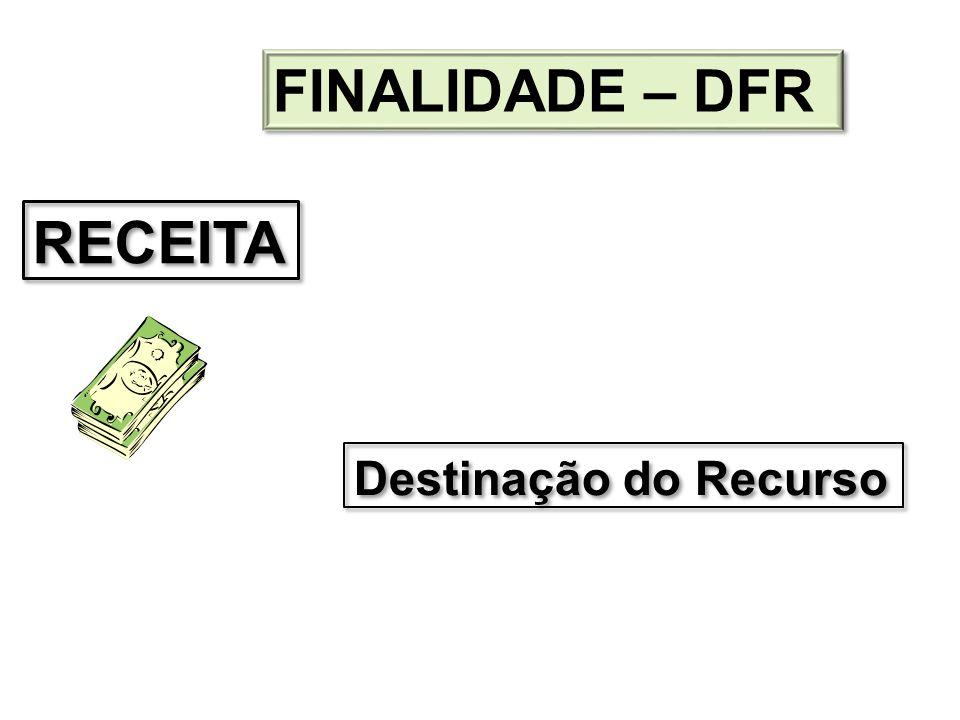 Destinação do Recurso RECEITA FINALIDADE – DFR