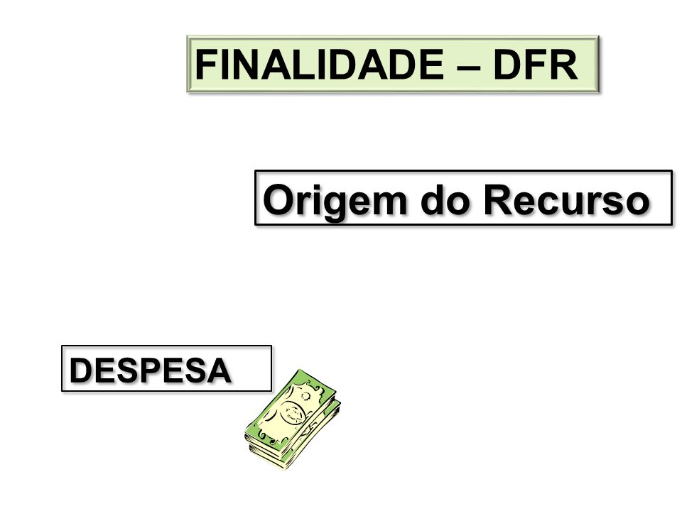 DESPESA Origem do Recurso FINALIDADE – DFR
