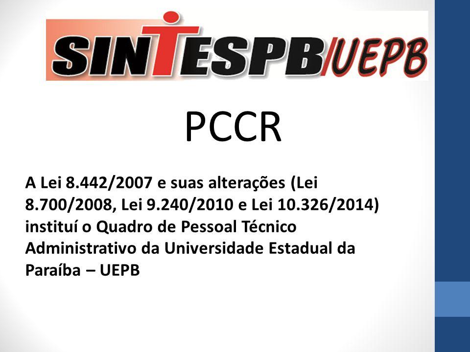 PCCR A Lei 8.442/2007 e suas alterações (Lei 8.700/2008, Lei 9.240/2010 e Lei 10.326/2014) instituí o Quadro de Pessoal Técnico Administrativo da Univ