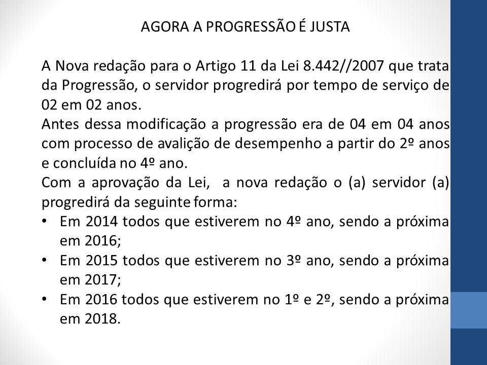 AGORA A PROGRESSÃO É JUSTA A Nova redação para o Artigo 11 da Lei 8.442//2007 que trata da Progressão, o servidor progredirá por tempo de serviço de 0