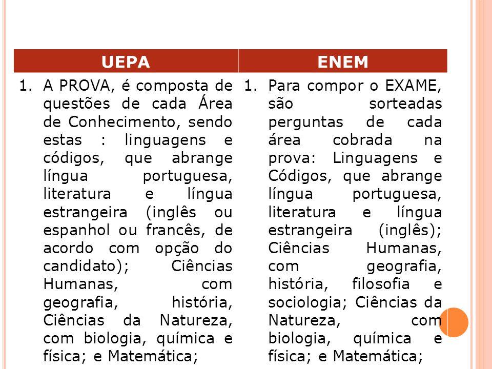UEPAENEM 1.A PROVA, é composta de questões de cada Área de Conhecimento, sendo estas : linguagens e códigos, que abrange língua portuguesa, literatura e língua estrangeira (inglês ou espanhol ou francês, de acordo com opção do candidato); Ciências Humanas, com geografia, história, Ciências da Natureza, com biologia, química e física; e Matemática; 1.Para compor o EXAME, são sorteadas perguntas de cada área cobrada na prova: Linguagens e Códigos, que abrange língua portuguesa, literatura e língua estrangeira (inglês); Ciências Humanas, com geografia, história, filosofia e sociologia; Ciências da Natureza, com biologia, química e física; e Matemática;