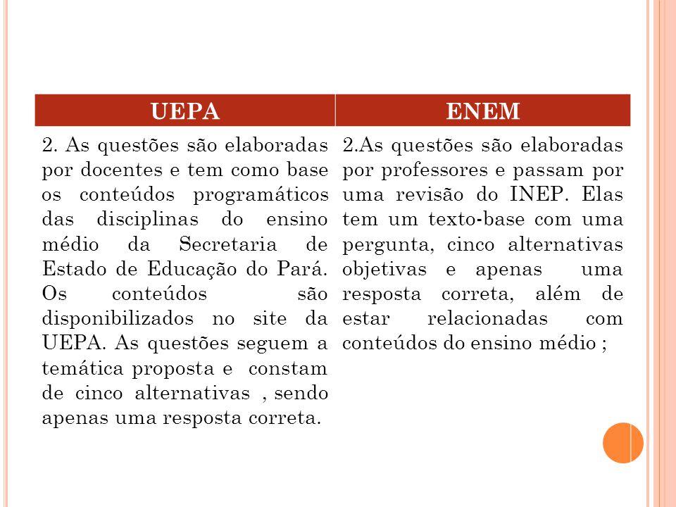 UEPAENEM 1.A PROVA, é composta de questões de cada Área de Conhecimento, sendo estas : linguagens e códigos, que abrange língua portuguesa, literatura