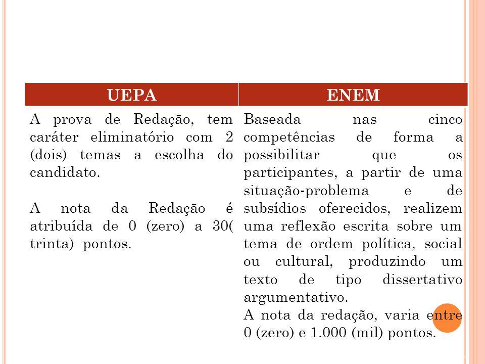 UEPAENEM A prova de Redação, tem caráter eliminatório com 2 (dois) temas a escolha do candidato.