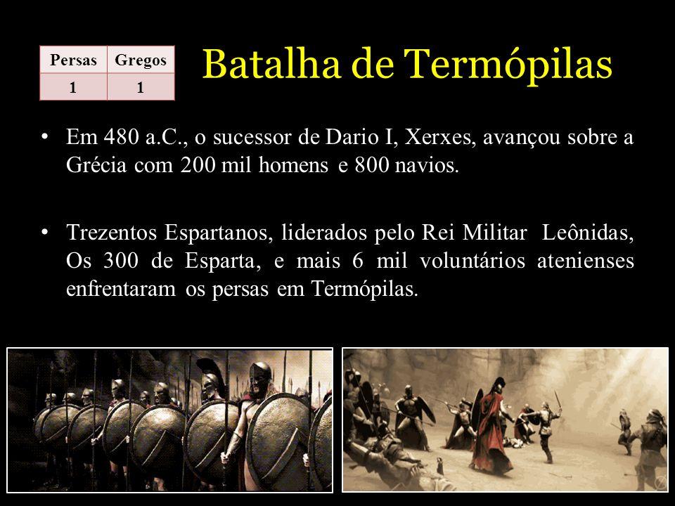 Batalha de Termópilas Em 480 a.C., o sucessor de Dario I, Xerxes, avançou sobre a Grécia com 200 mil homens e 800 navios. Trezentos Espartanos, lidera