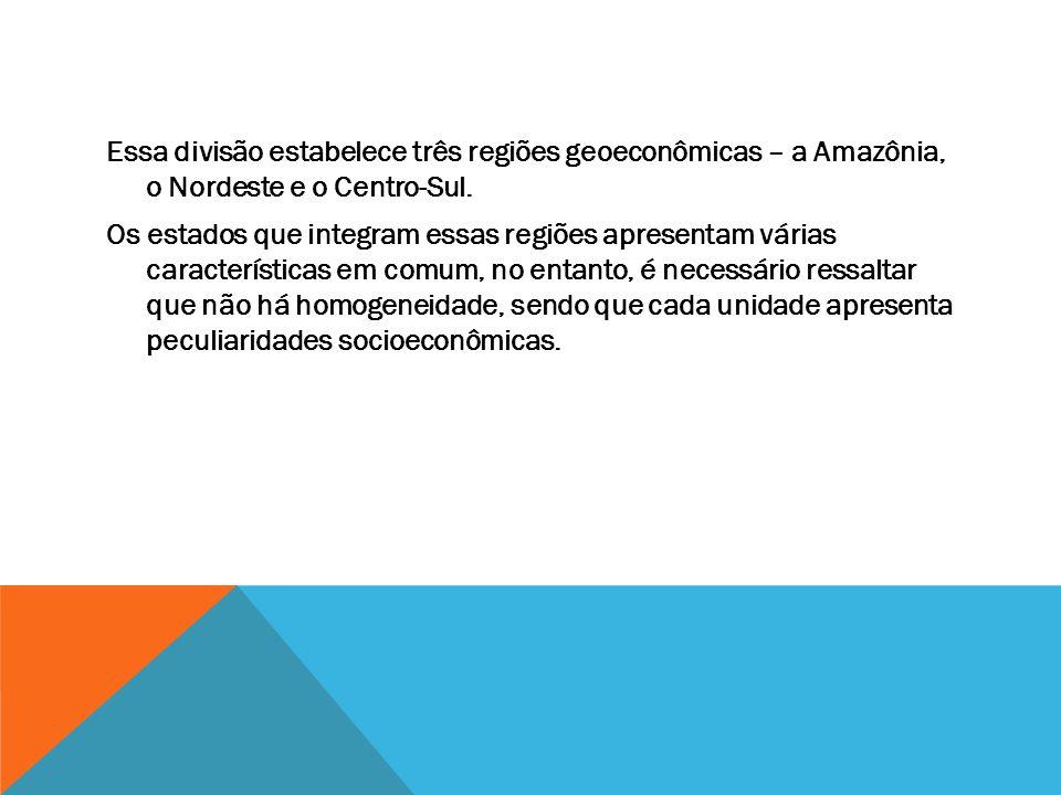 Essa divisão estabelece três regiões geoeconômicas – a Amazônia, o Nordeste e o Centro-Sul. Os estados que integram essas regiões apresentam várias ca