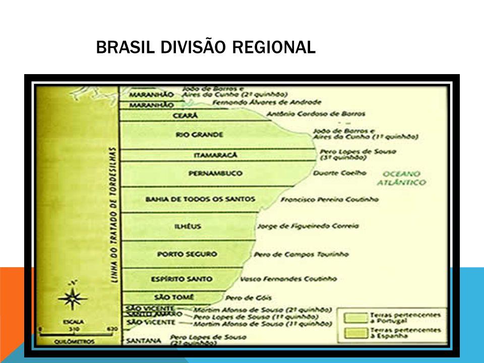 DIVISÃO REGIONAL O sistema de capitanias hereditárias surgiu em 1534.