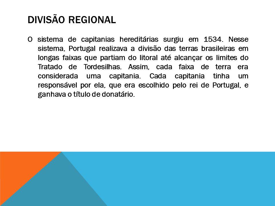 DIVISÃO REGIONAL O sistema de capitanias hereditárias surgiu em 1534. Nesse sistema, Portugal realizava a divisão das terras brasileiras em longas fai
