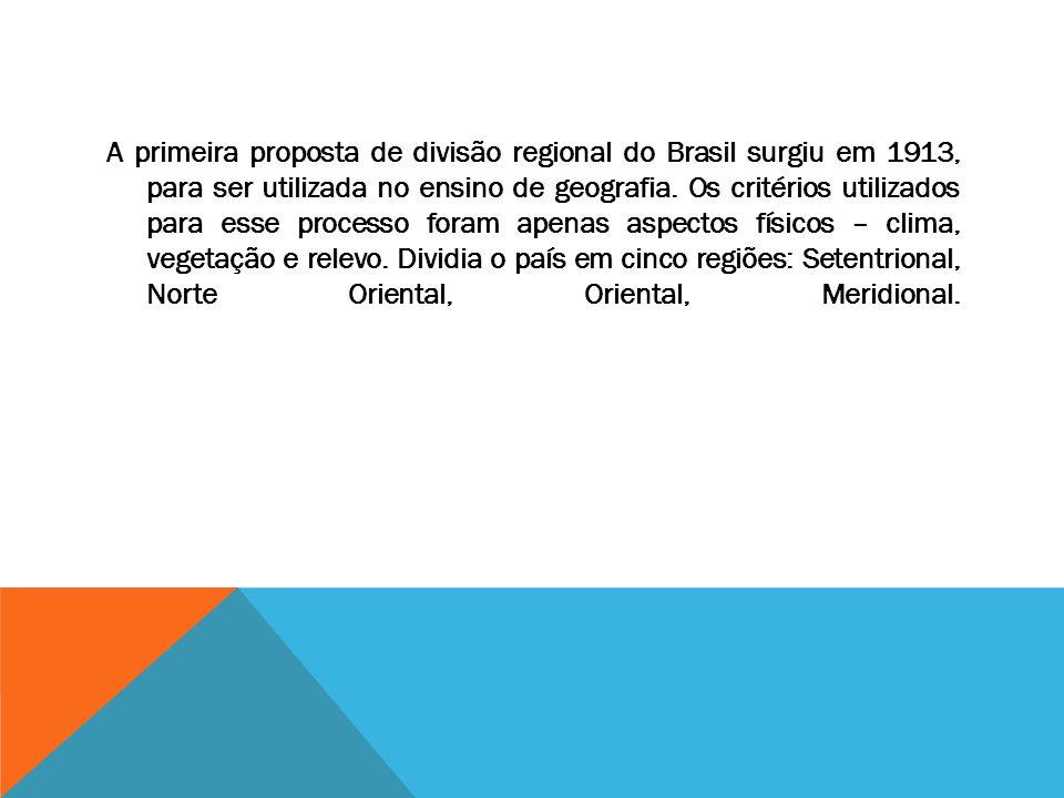 A primeira proposta de divisão regional do Brasil surgiu em 1913, para ser utilizada no ensino de geografia. Os critérios utilizados para esse process