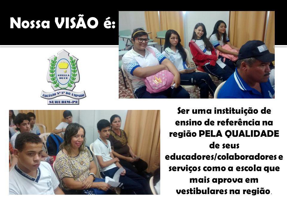 Ser uma instituição de ensino de referência na região PELA QUALIDADE de seus educadores/colaboradores e serviços como a escola que mais aprova em vestibulares na região.