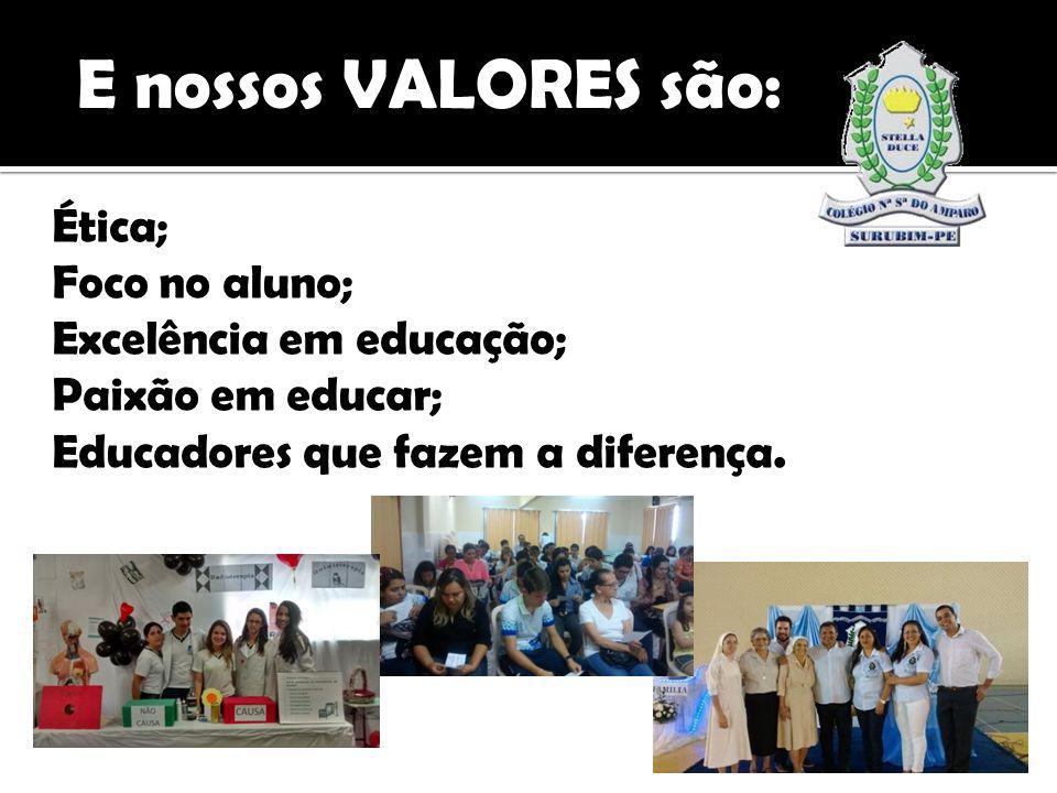 Ética; Foco no aluno; Excelência em educação; Paixão em educar; Educadores que fazem a diferença.