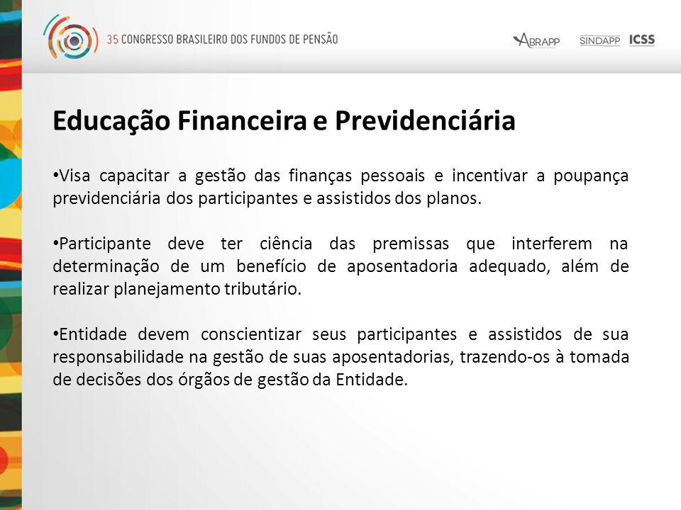 Educação Financeira e Previdenciária Visa capacitar a gestão das finanças pessoais e incentivar a poupança previdenciária dos participantes e assistid
