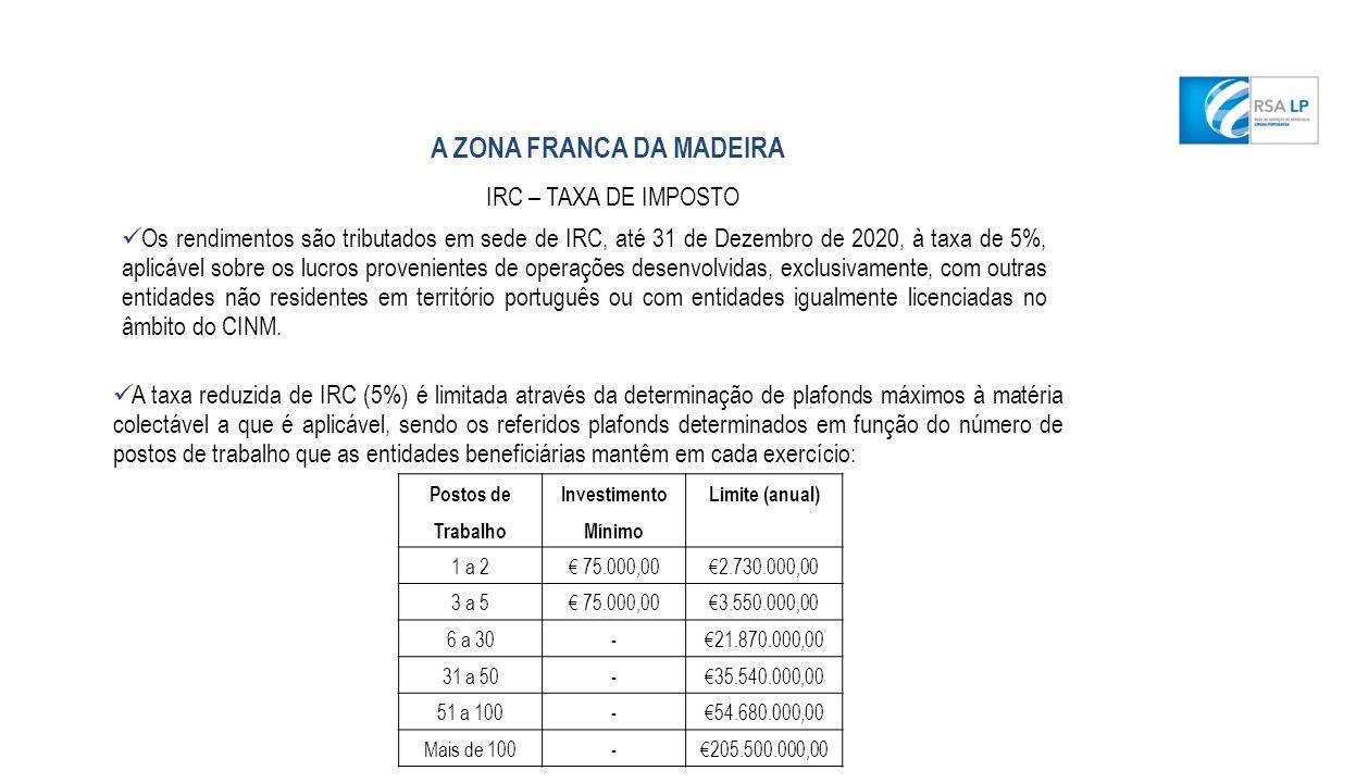 A taxa reduzida de IRC (5%) é limitada através da determinação de plafonds máximos à matéria colectável a que é aplicável, sendo os referidos plafonds