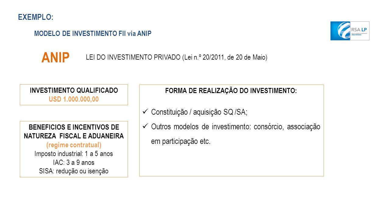 ANIP MODELO DE INVESTIMENTO FII via ANIP LEI DO INVESTIMENTO PRIVADO (Lei n.º 20/2011, de 20 de Maio) INVESTIMENTO QUALIFICADO USD 1.000.000,00 BENEFI