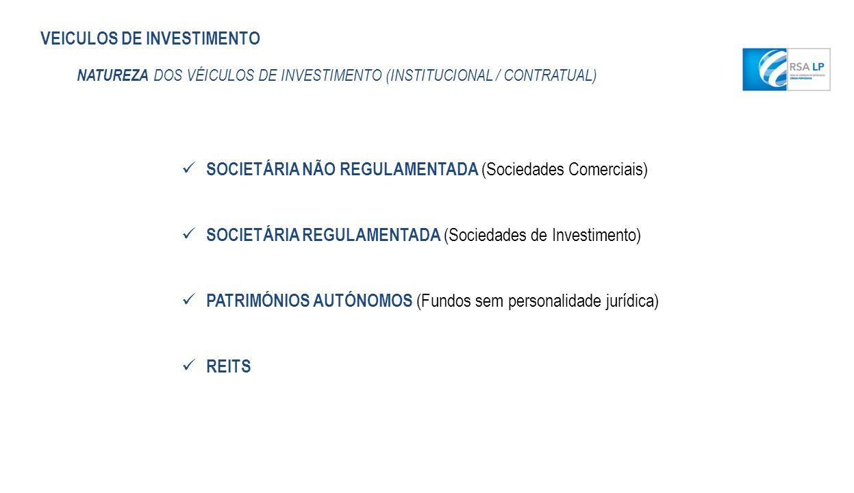 VEICULOS DE INVESTIMENTO NATUREZA DOS VÉICULOS DE INVESTIMENTO (INSTITUCIONAL / CONTRATUAL) SOCIETÁRIA NÃO REGULAMENTADA (Sociedades Comerciais) SOCIE