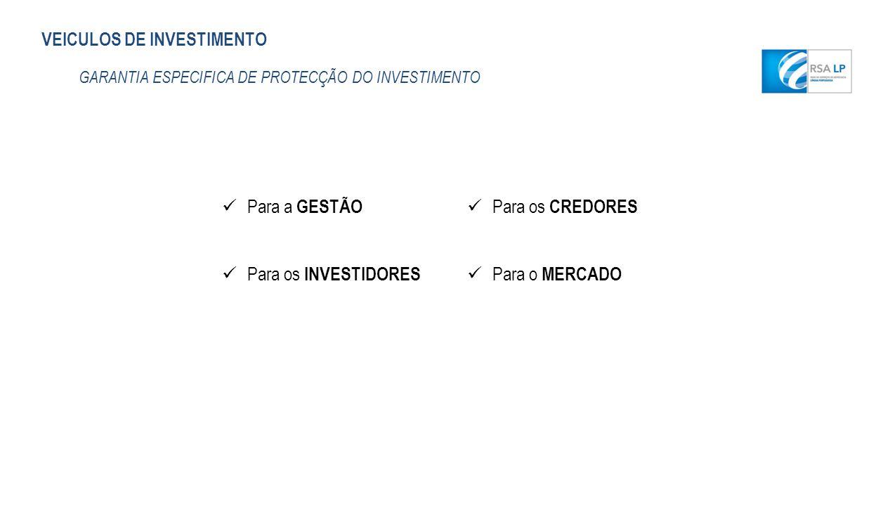 VEICULOS DE INVESTIMENTO GARANTIA ESPECIFICA DE PROTECÇÃO DO INVESTIMENTO Para a GESTÃO Para os INVESTIDORES Para os CREDORES Para o MERCADO