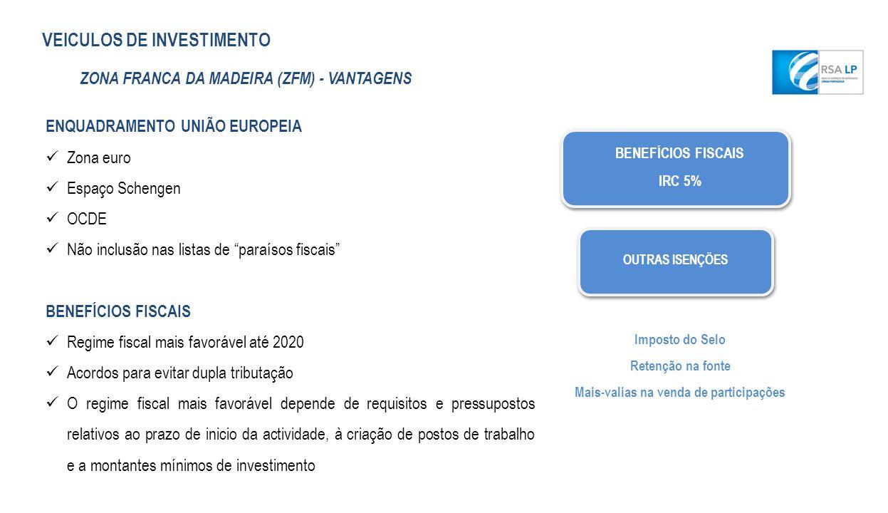 BENEFÍCIOS FISCAIS IRC 5% OUTRAS ISENÇÕES Imposto do Selo Retenção na fonte Mais-valias na venda de participações ENQUADRAMENTO UNIÃO EUROPEIA Zona eu