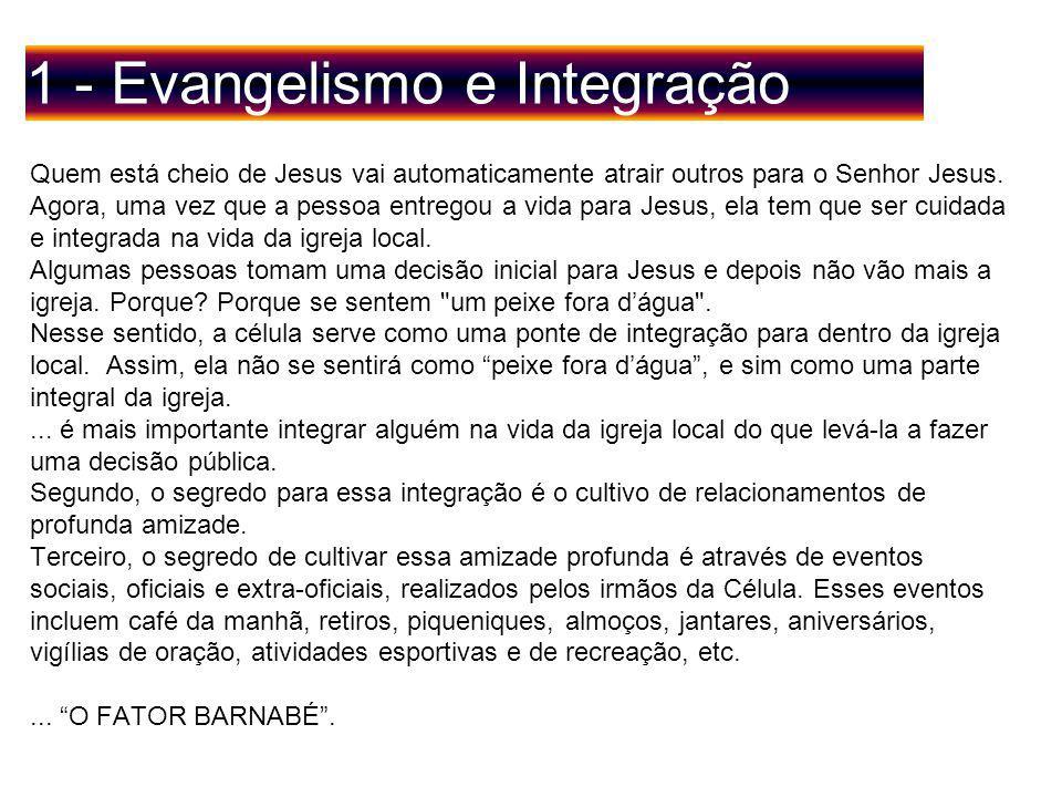 1 - Evangelismo e Integração Quem está cheio de Jesus vai automaticamente atrair outros para o Senhor Jesus.