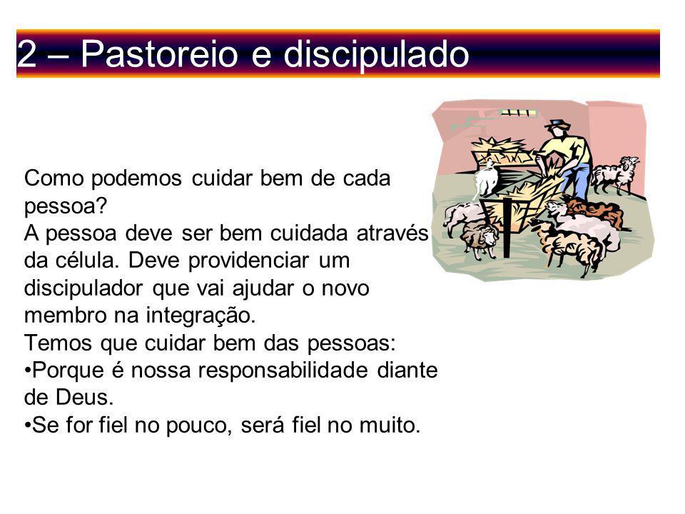 2 – Pastoreio e discipulado Como podemos cuidar bem de cada pessoa.