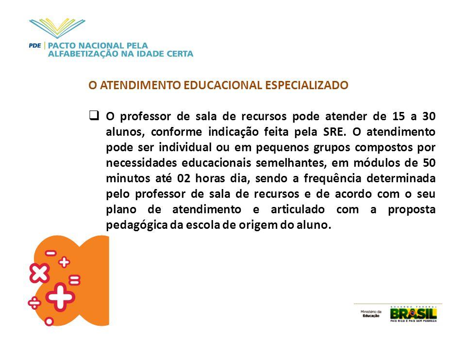 O ATENDIMENTO EDUCACIONAL ESPECIALIZADO  O professor de sala de recursos pode atender de 15 a 30 alunos, conforme indicação feita pela SRE. O atendim