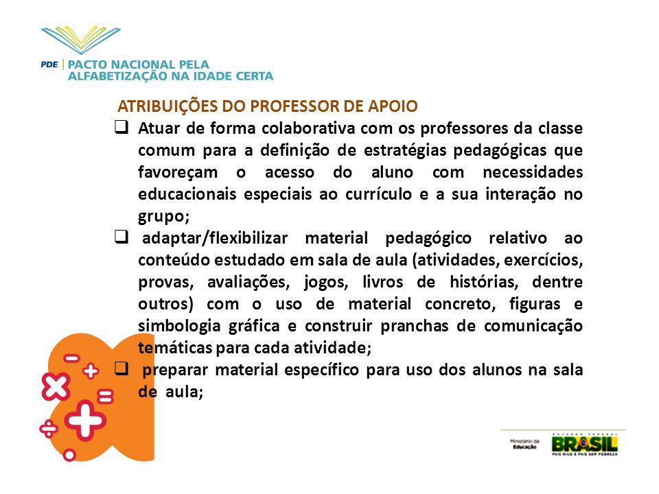 ATRIBUIÇÕES DO PROFESSOR DE APOIO  Atuar de forma colaborativa com os professores da classe comum para a definição de estratégias pedagógicas que fav