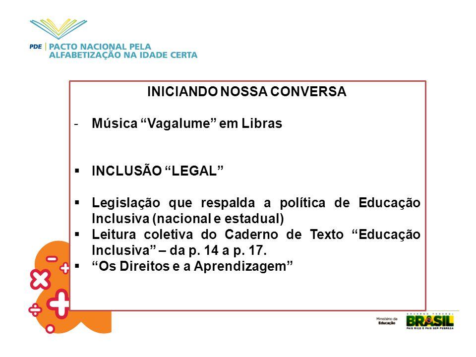 """INICIANDO NOSSA CONVERSA -Música """"Vagalume"""" em Libras  INCLUSÃO """"LEGAL""""  Legislação que respalda a política de Educação Inclusiva (nacional e estadu"""