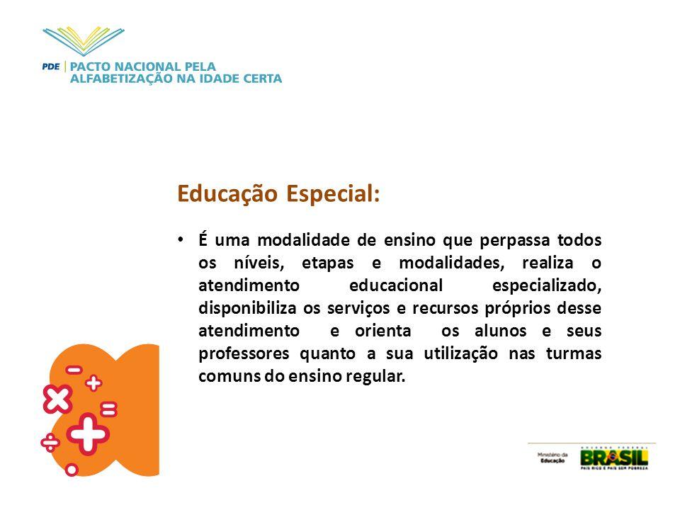 Educação Especial: É uma modalidade de ensino que perpassa todos os níveis, etapas e modalidades, realiza o atendimento educacional especializado, dis