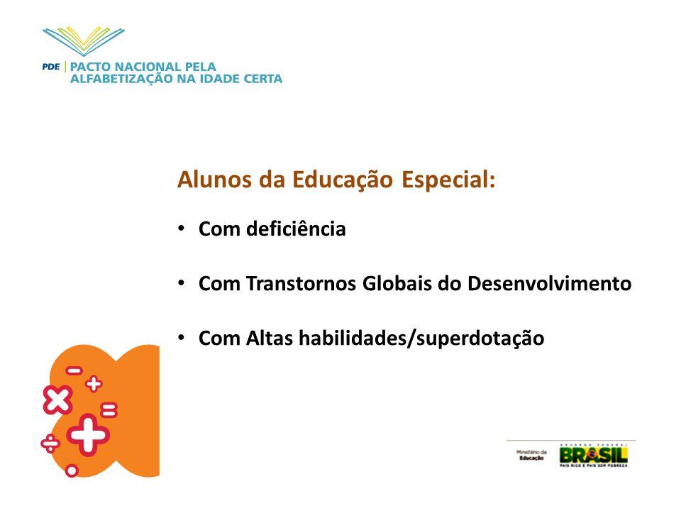 Alunos da Educação Especial: Com deficiência Com Transtornos Globais do Desenvolvimento Com Altas habilidades/superdotação