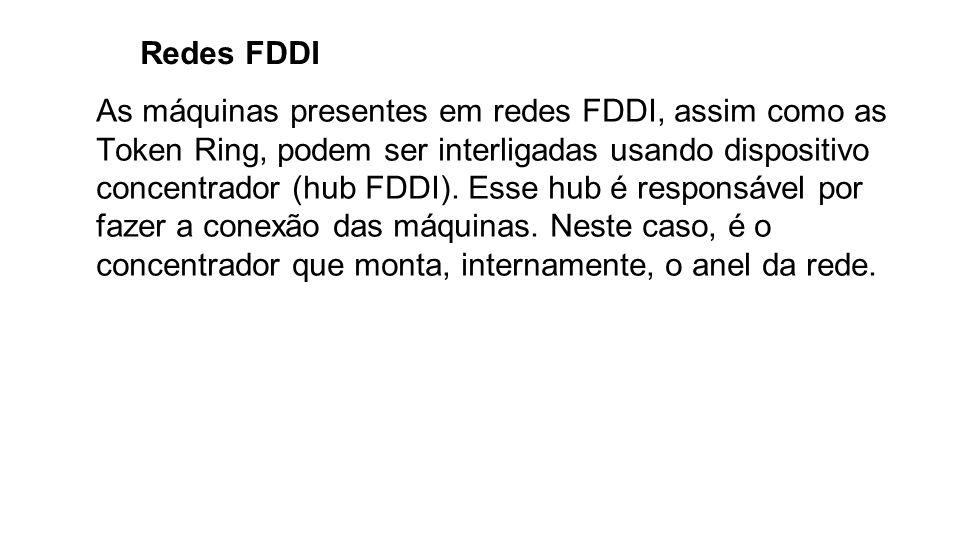 Redes FDDI As máquinas presentes em redes FDDI, assim como as Token Ring, podem ser interligadas usando dispositivo concentrador (hub FDDI). Esse hub