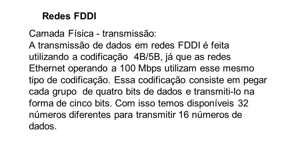 Redes FDDI Camada Física - transmissão: A transmissão de dados em redes FDDI é feita utilizando a codificação 4B/5B, já que as redes Ethernet operando