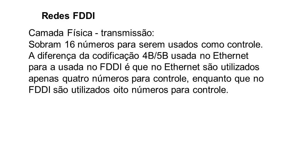 Redes FDDI Camada Física - transmissão: Sobram 16 números para serem usados como controle. A diferença da codificação 4B/5B usada no Ethernet para a u