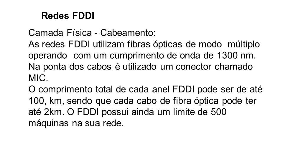 Redes FDDI Camada Física - Cabeamento: As redes FDDI utilizam fibras ópticas de modo múltiplo operando com um cumprimento de onda de 1300 nm. Na ponta