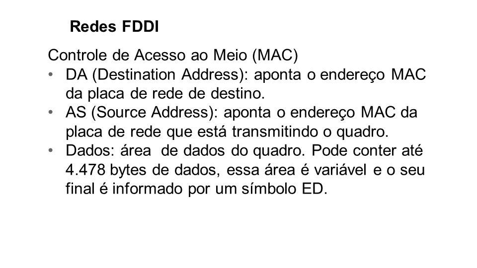 Redes FDDI Controle de Acesso ao Meio (MAC) DA (Destination Address): aponta o endereço MAC da placa de rede de destino. AS (Source Address): aponta o
