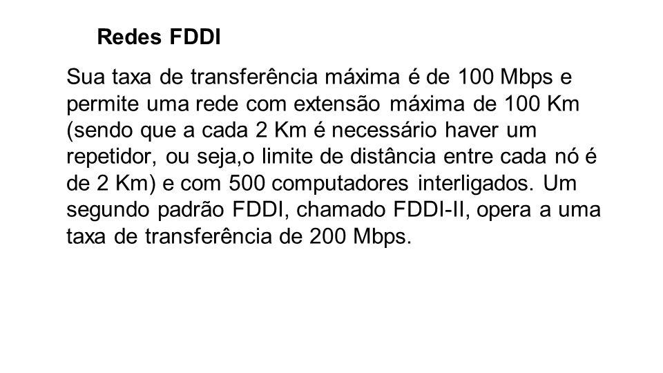 Redes FDDI Sua taxa de transferência máxima é de 100 Mbps e permite uma rede com extensão máxima de 100 Km (sendo que a cada 2 Km é necessário haver u