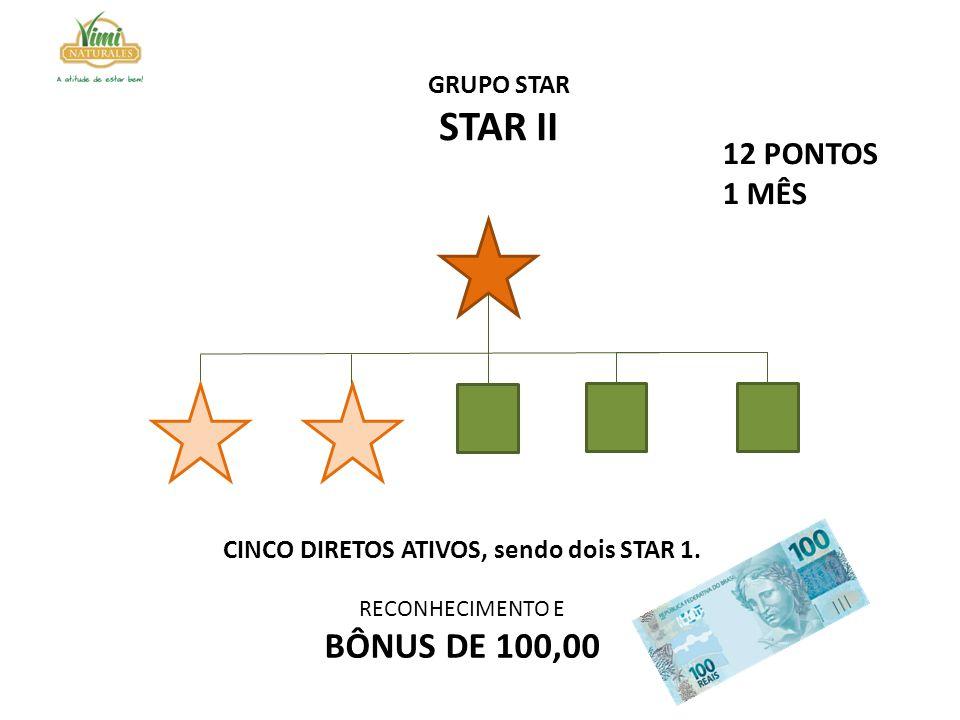 CINCO DIRETOS ATIVOS, sendo dois STAR 1. RECONHECIMENTO E BÔNUS DE 100,00 GRUPO STAR STAR II 12 PONTOS 1 MÊS