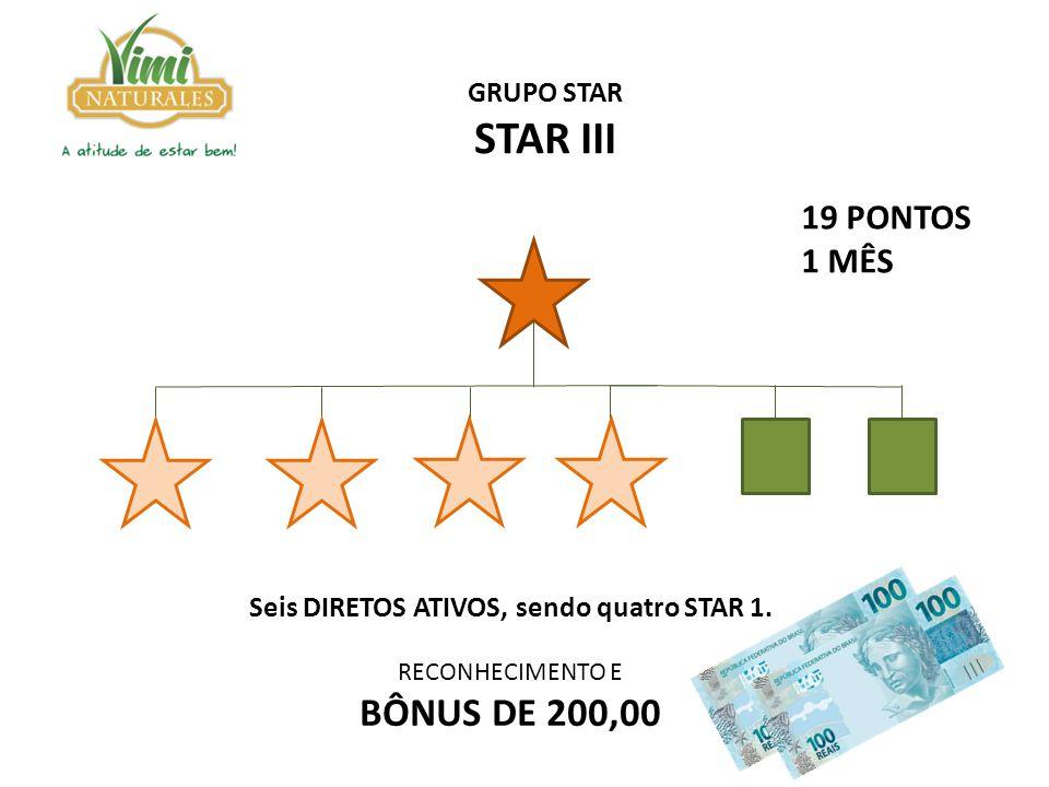 Seis DIRETOS ATIVOS, sendo quatro STAR 1. RECONHECIMENTO E BÔNUS DE 200,00 GRUPO STAR STAR III 19 PONTOS 1 MÊS