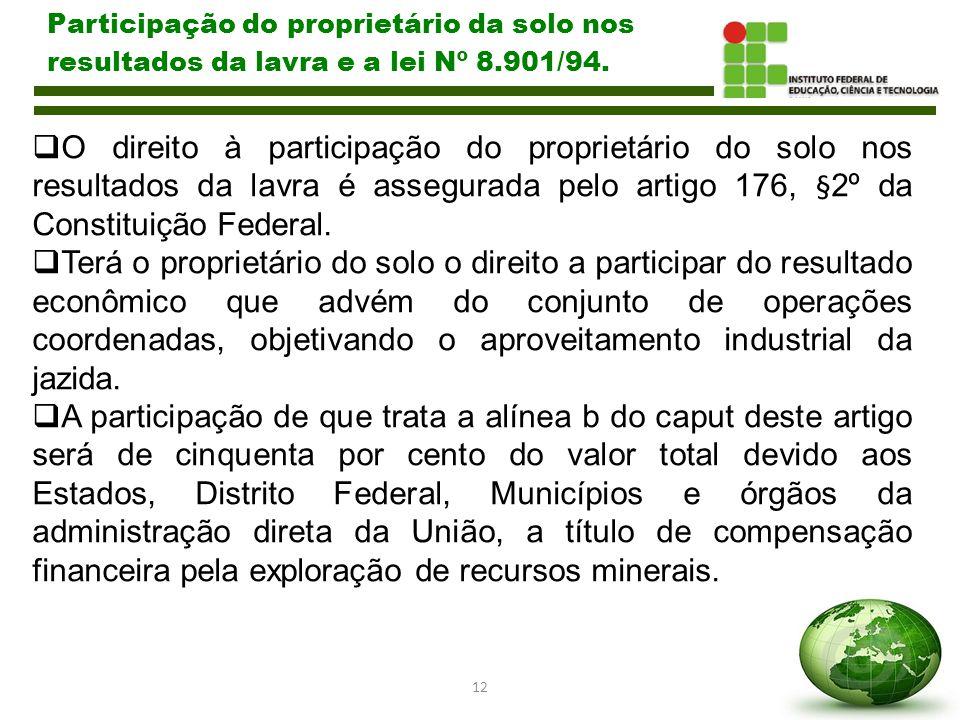 12 Participação do proprietário da solo nos resultados da lavra e a lei Nº 8.901/94.  O direito à participação do proprietário do solo nos resultados