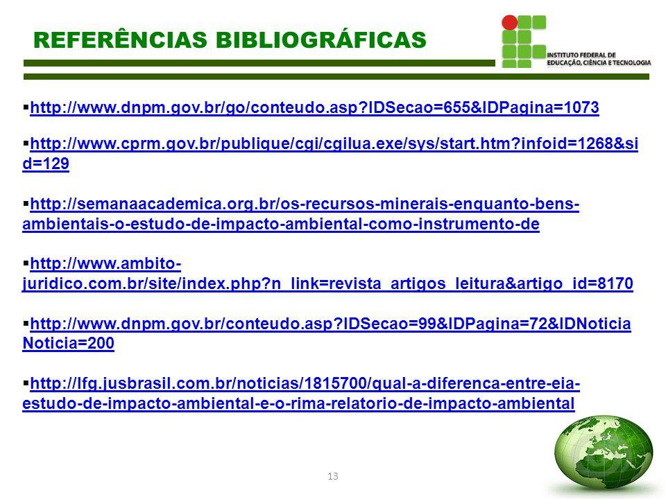 13 REFERÊNCIAS BIBLIOGRÁFICAS  http://www.dnpm.gov.br/go/conteudo.asp?IDSecao=655&IDPagina=1073 http://www.dnpm.gov.br/go/conteudo.asp?IDSecao=655&ID