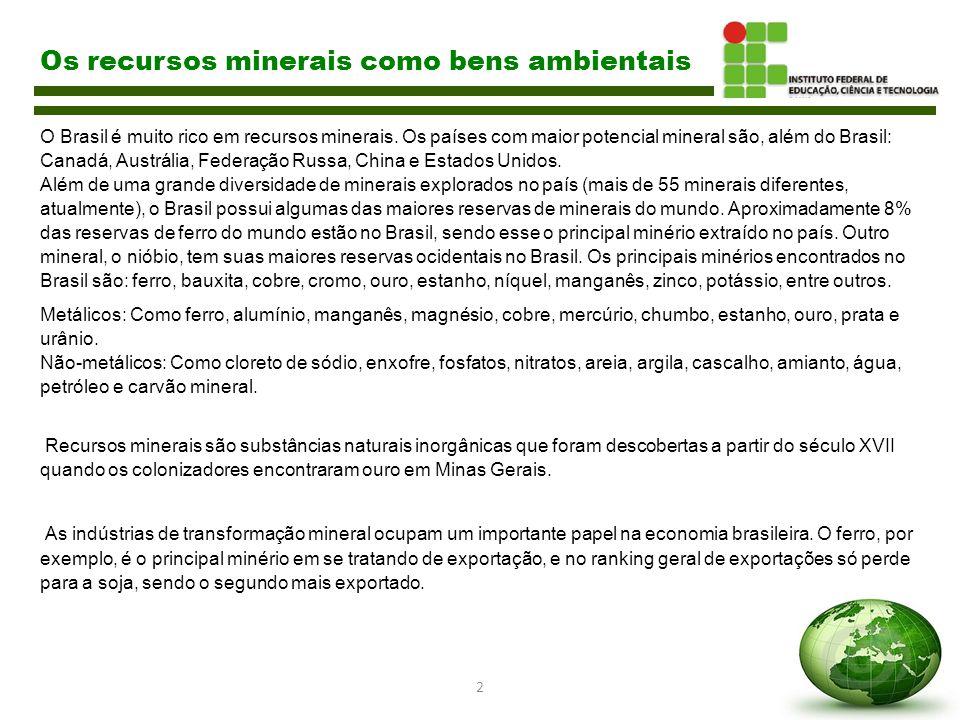 2 Os recursos minerais como bens ambientais O Brasil é muito rico em recursos minerais. Os países com maior potencial mineral são, além do Brasil: Can