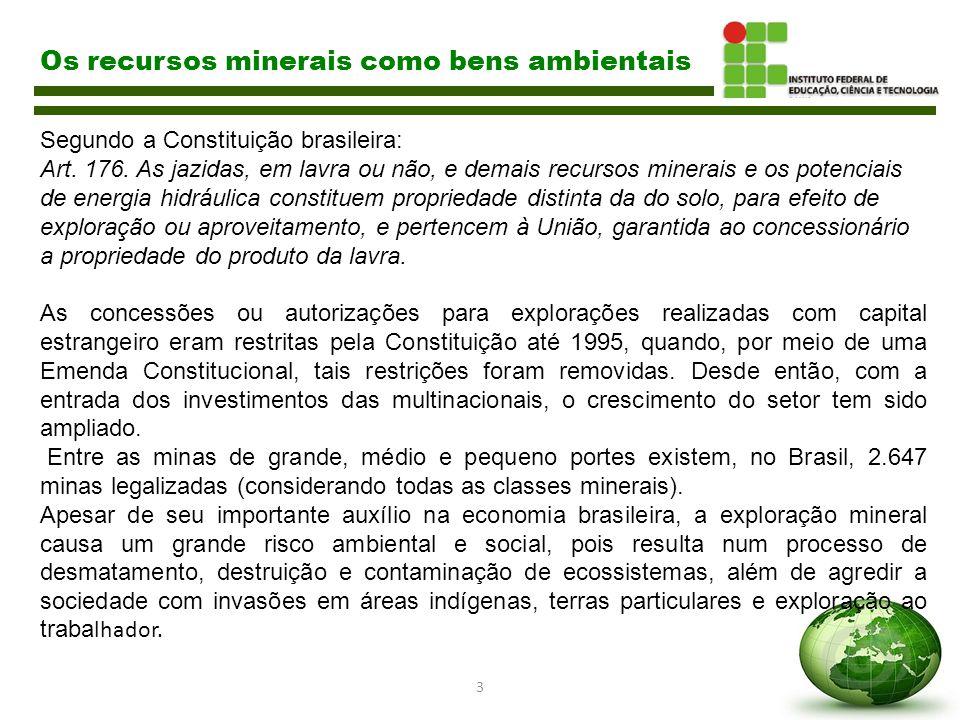3 Os recursos minerais como bens ambientais Segundo a Constituição brasileira: Art. 176. As jazidas, em lavra ou não, e demais recursos minerais e os