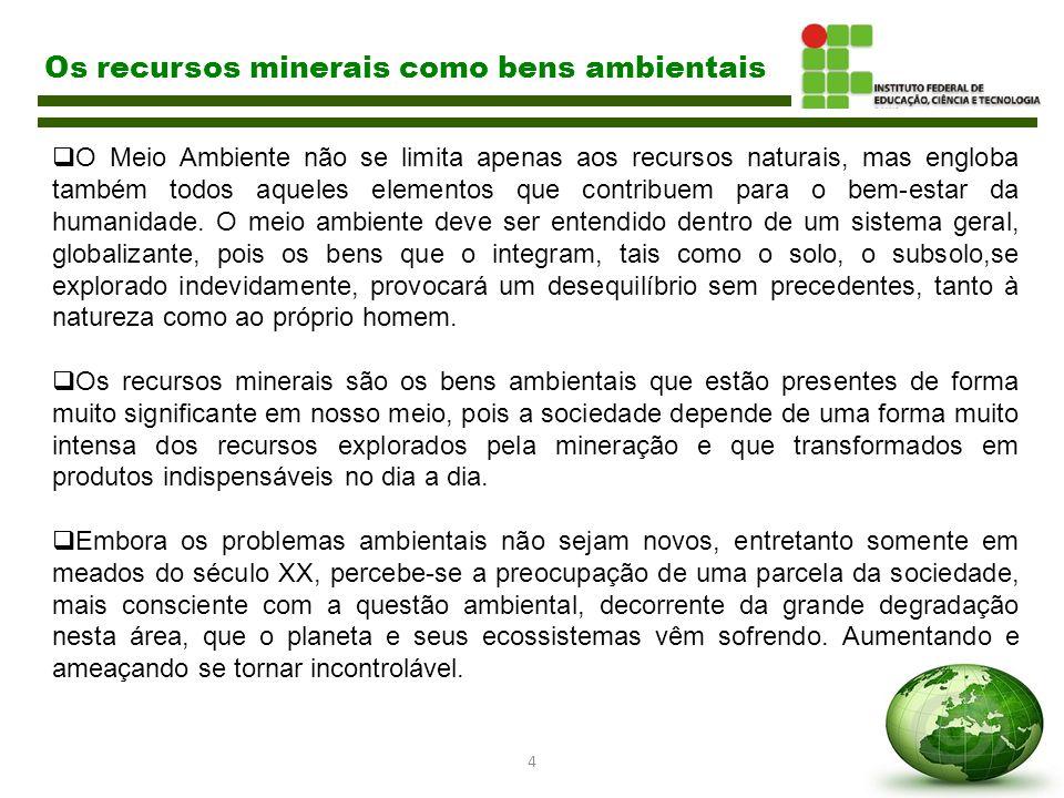 5 Os recursos minerais como bens ambientais  A Carta Política Brasileira de 1988 CF insere em seu texto (art.225), dispositivos cujo teor verifica-se claramente a tutela dos bens ambientais, ali resguardados, com o objetivo de garantir as relações entre o homem e a natureza.
