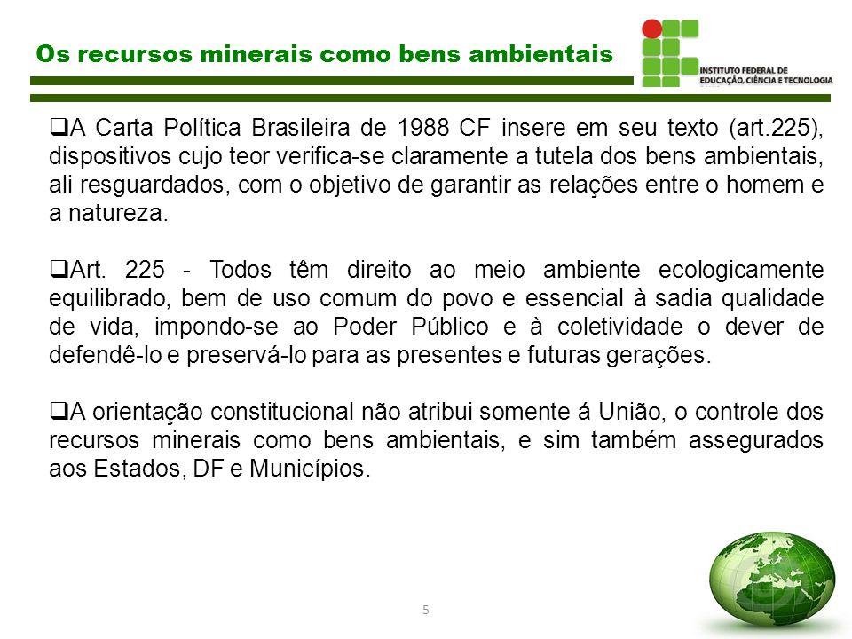 5 Os recursos minerais como bens ambientais  A Carta Política Brasileira de 1988 CF insere em seu texto (art.225), dispositivos cujo teor verifica-se