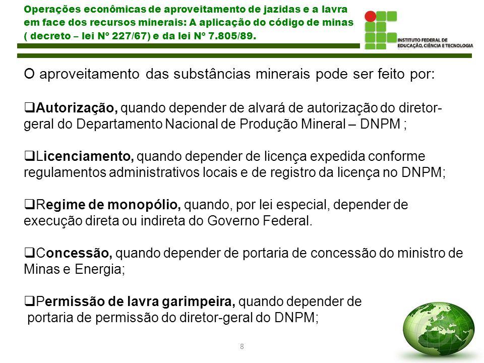 9 Operações econômicas de aproveitamento de jazidas e a lavra em face dos recursos minerais: A aplicação do código de minas ( decreto – lei Nº 227/67) e da lei Nº 7.805/89.