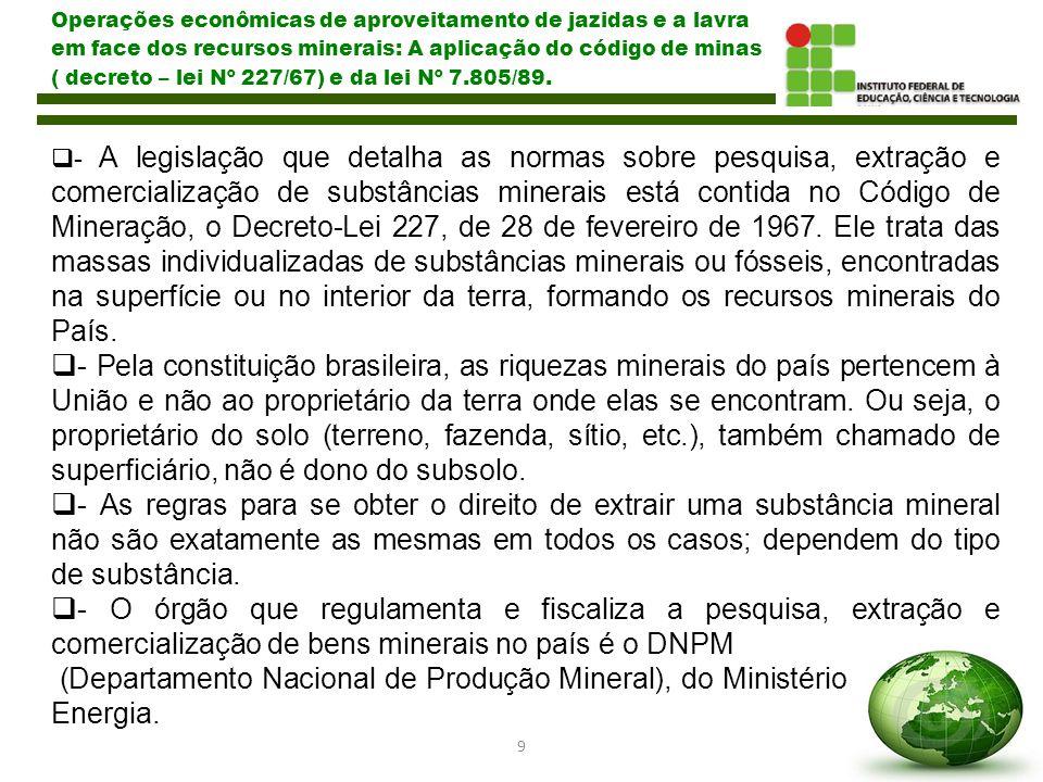 10 Operações econômicas de aproveitamento de jazidas e a lavra em face dos recursos minerais: A aplicação do código de minas ( decreto – lei Nº 227/67) e da lei Nº 7.805/89.