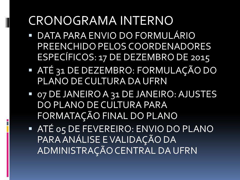 CRONOGRAMA INTERNO  DATA PARA ENVIO DO FORMULÁRIO PREENCHIDO PELOS COORDENADORES ESPECÍFICOS: 17 DE DEZEMBRO DE 2015  ATÉ 31 DE DEZEMBRO: FORMULAÇÃO DO PLANO DE CULTURA DA UFRN  07 DE JANEIRO A 31 DE JANEIRO: AJUSTES DO PLANO DE CULTURA PARA FORMATAÇÃO FINAL DO PLANO  ATÉ 05 DE FEVEREIRO: ENVIO DO PLANO PARA ANÁLISE E VALIDAÇÃO DA ADMINISTRAÇÃO CENTRAL DA UFRN