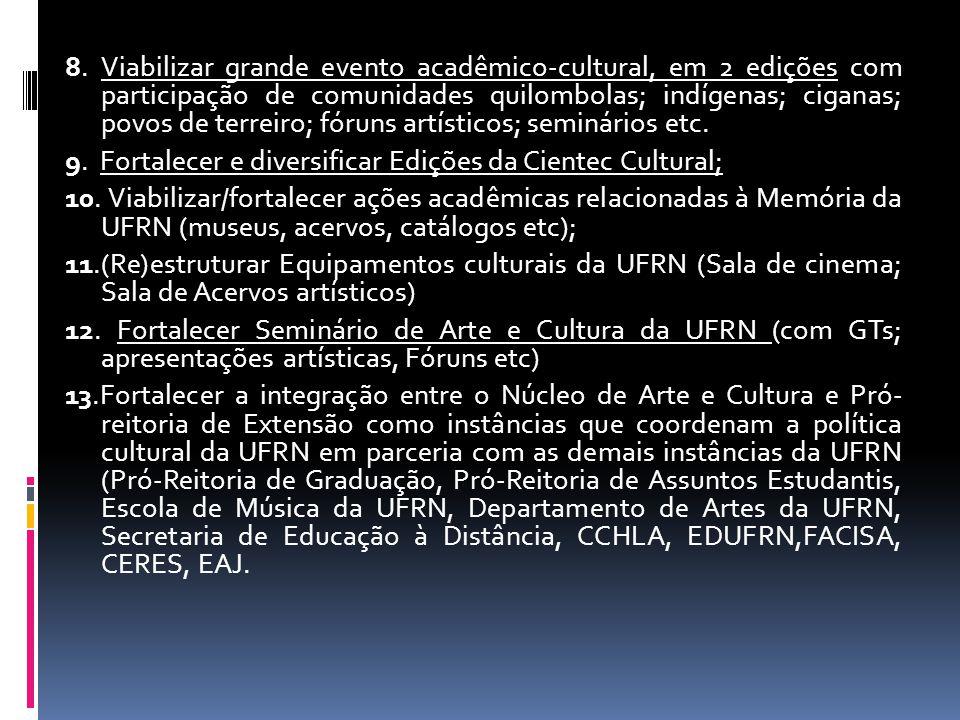 8. Viabilizar grande evento acadêmico-cultural, em 2 edições com participação de comunidades quilombolas; indígenas; ciganas; povos de terreiro; fórun