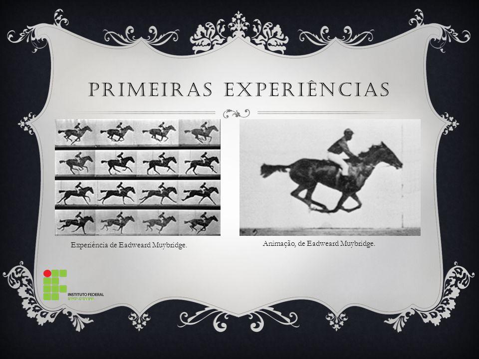 PRIMEIRAS EXPERIÊNCIAS. Experiência de Eadweard Muybridge. Animação, de Eadweard Muybridge.
