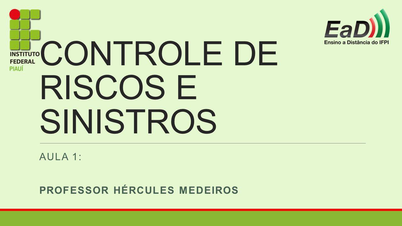 CONTROLE DE RISCOS E SINISTROS AULA 1: PROFESSOR HÉRCULES MEDEIROS