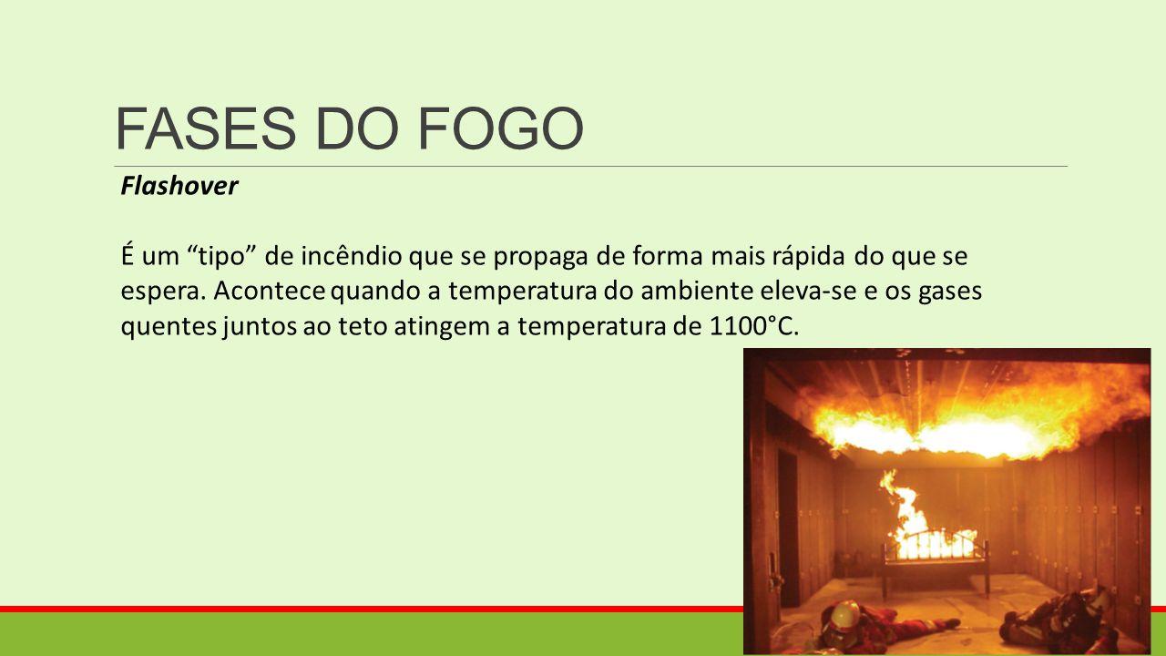 """FASES DO FOGO Flashover É um """"tipo"""" de incêndio que se propaga de forma mais rápida do que se espera. Acontece quando a temperatura do ambiente eleva-"""