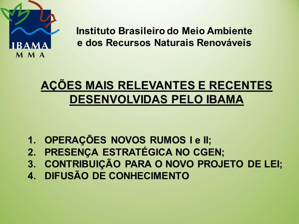 Instituto Brasileiro do Meio Ambiente e dos Recursos Naturais Renováveis AÇÕES MAIS RELEVANTES E RECENTES DESENVOLVIDAS PELO IBAMA 1.OPERAÇÕES NOVOS RUMOS I e II; 2.PRESENÇA ESTRATÉGICA NO CGEN; 3.CONTRIBUIÇÃO PARA O NOVO PROJETO DE LEI; 4.DIFUSÃO DE CONHECIMENTO