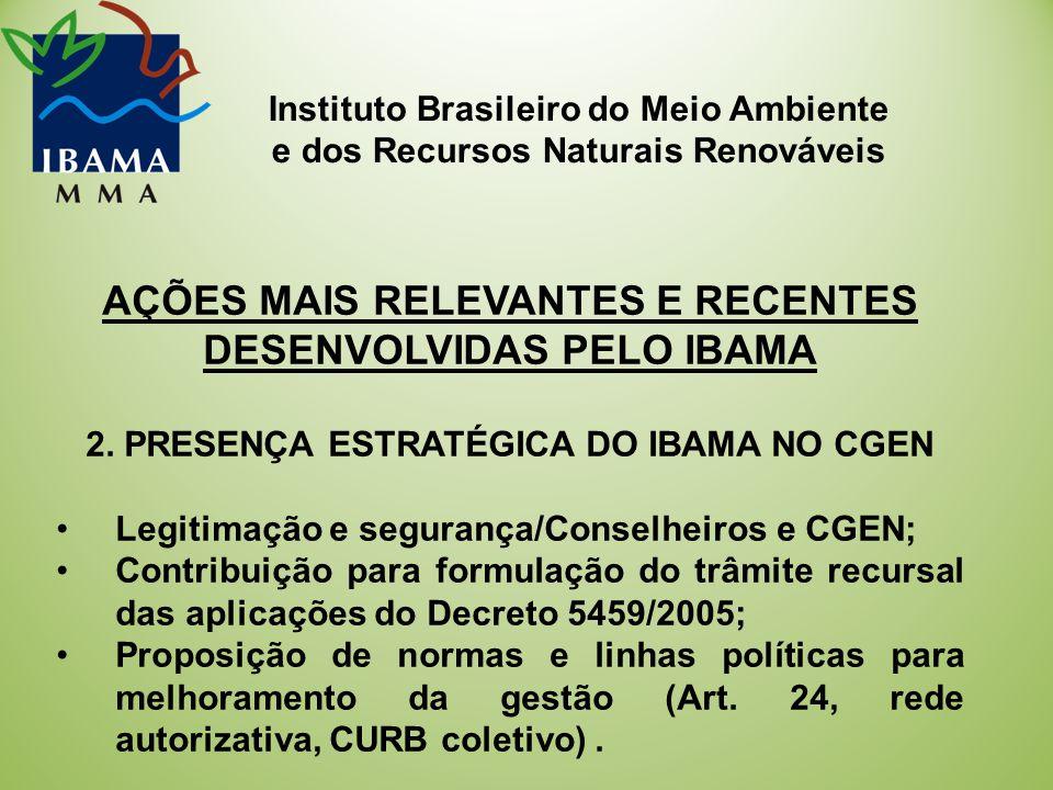 Instituto Brasileiro do Meio Ambiente e dos Recursos Naturais Renováveis AÇÕES MAIS RELEVANTES E RECENTES DESENVOLVIDAS PELO IBAMA 2.